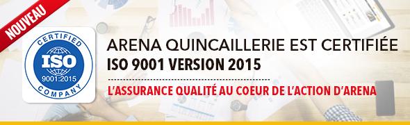 Arena est certifiée ISO 9001 VERSION 2015